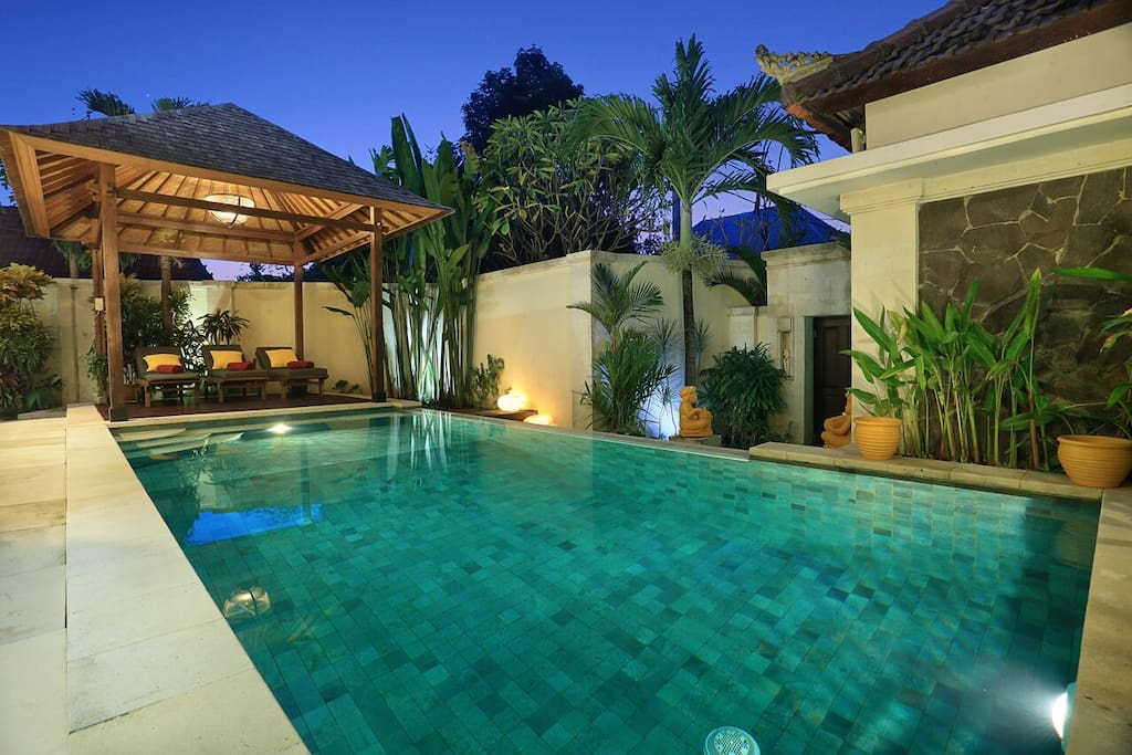 Take a plunge in the sparkling swimming pool!