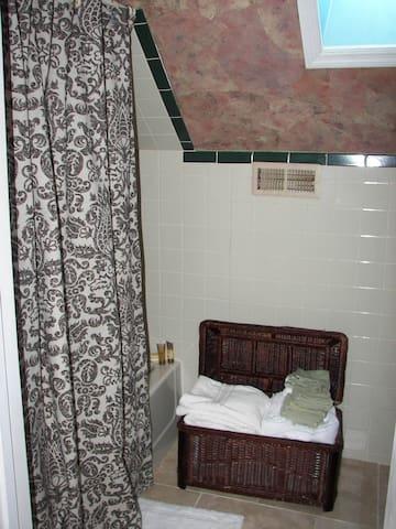 Entry into Full Bath - Tub/shower combination, pedestal sink.