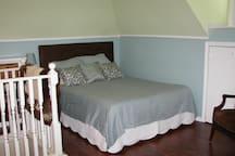 Custom headboard on a queen size memory foam bed.... comfy, comfy, comfy!