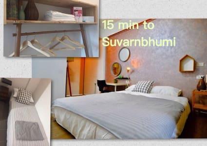 Room for 2-3, Free wifi, 15 min to Suvarnabhumi
