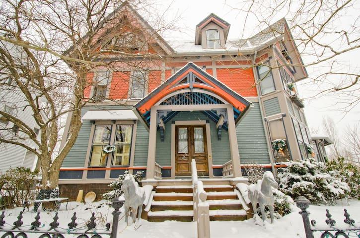 Linden street in winter