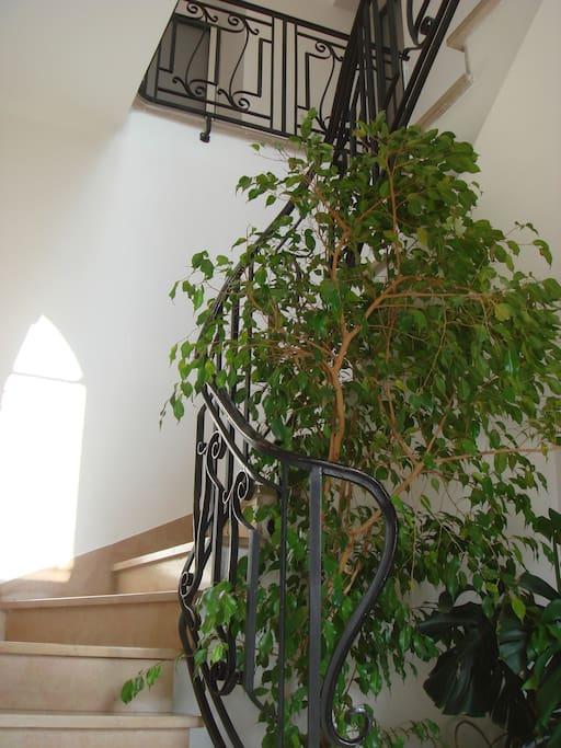 2 maisons accolées abritent les différents studios situés en rez de chaussée et en étage; vous êtes ici dans la montée d'escalier du premier bâtiment, marbre rose de Comblanchien et garde corps en ferronnerie d'art.