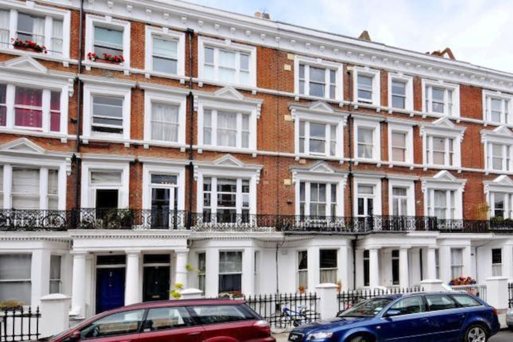 Street view, Maclise Road is a quiet residential street in the upmarket area of Kensington Olympia