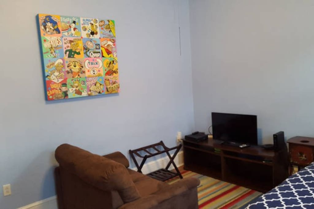 Small cozy living space, with new smart TV,