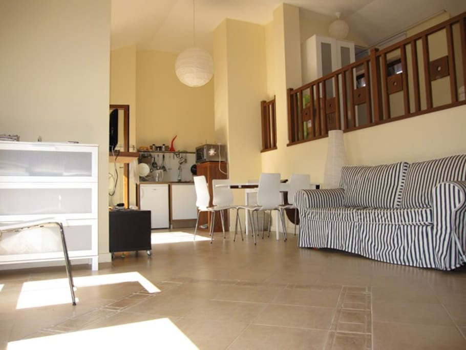 Downstairs at the studio....living room and kitchen..