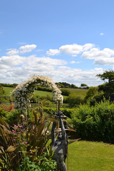 Glorious Devon countryside and pleasant gardens.