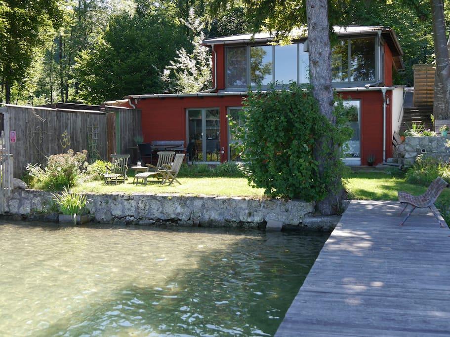 Ferienhaus am Pilsensee mit direktem Seezugang und eigenem Steg