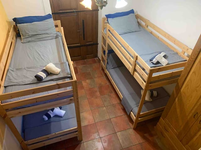 2nd bedroom with two twin bunk beds.