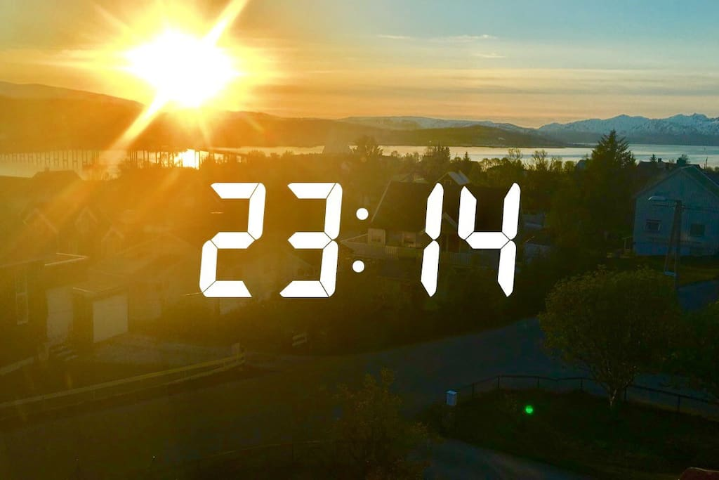 See the midnight sun from the window. Taken from the room before we went to bed 8th of june.