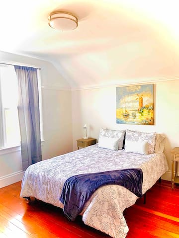 Sunny top floor suite + free parking, buses