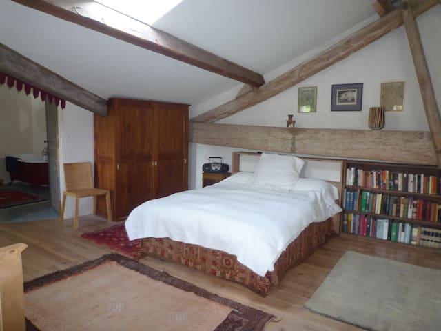 large double bed on the mezzanine