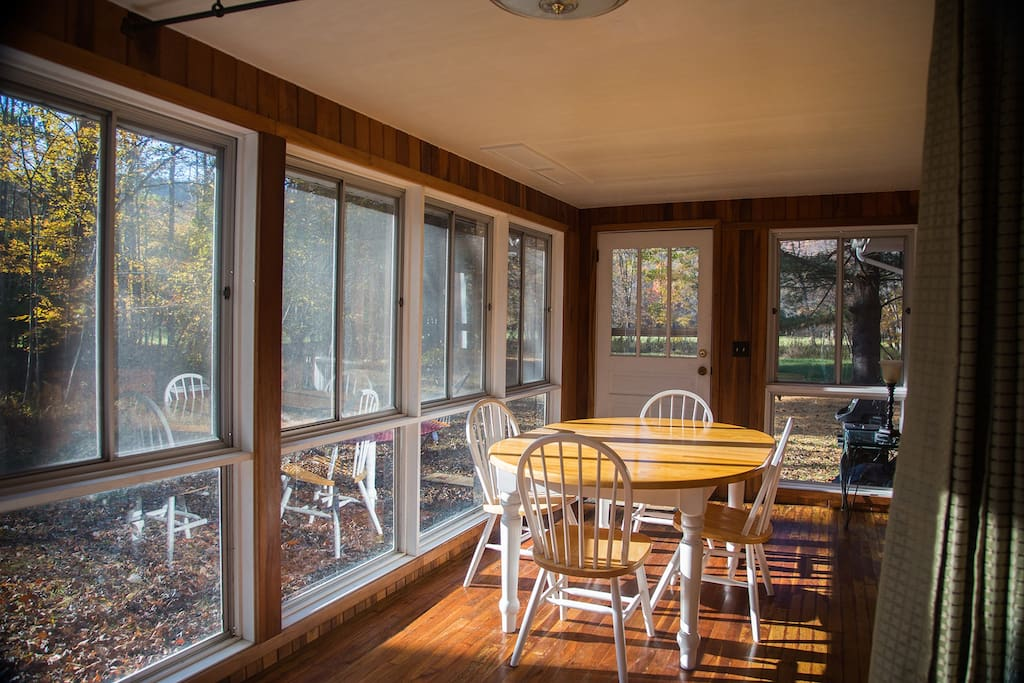 Sunporch with a view of the creek and back meadows