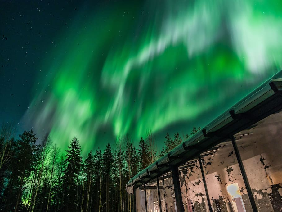 Guest photo of northern lights at the villa