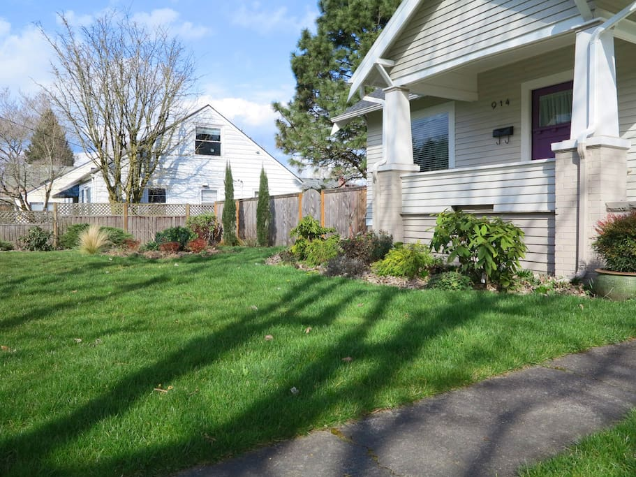 West facing front yard has a huge maple tree to keep it cool in the summer.