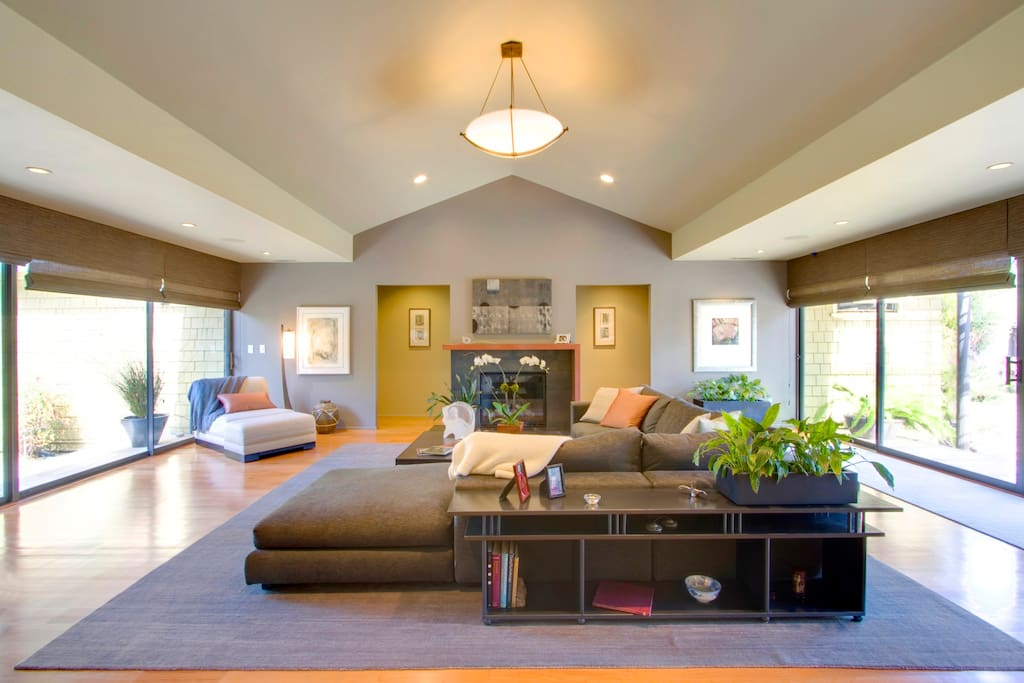 Great Room with Italian Sofa and Gas Fireplace