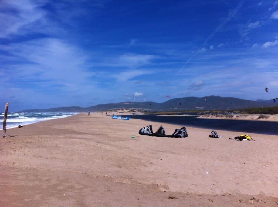 12 km di spiaggia, con laguna per pricipianti kite e windsurf, possibilita noleggio canoa per risalire il coghinas