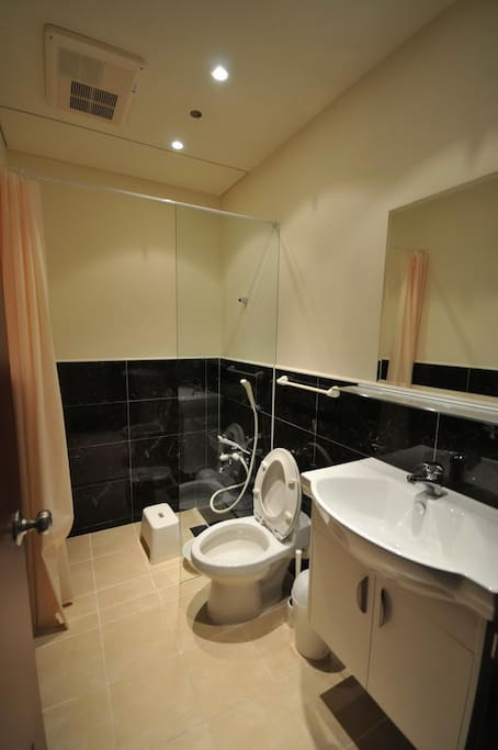 Japanese low sit bathroom with temperature control faucet.