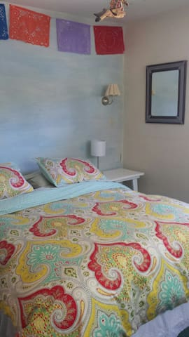 Your Bedroom.  Queen sized Bed with Luxurious Linens.