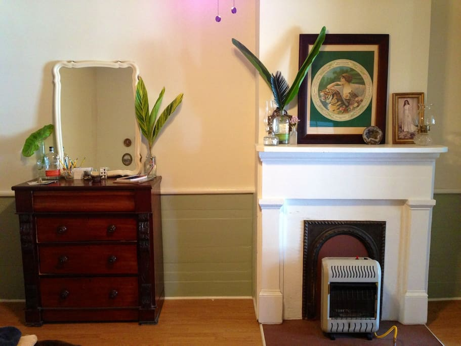 Dresser and mantel in the guest room.