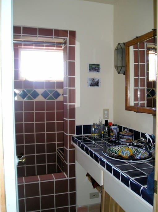Your bathroom - four windows, no curtains, giant shower, no tub