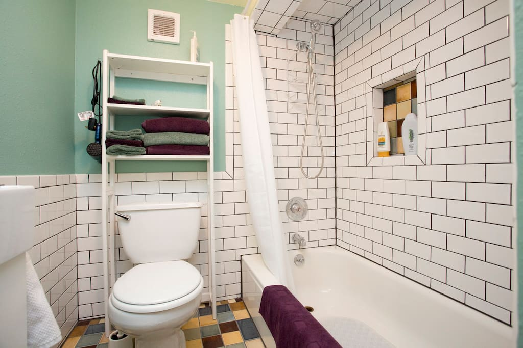 All-tile bathroom with real tub