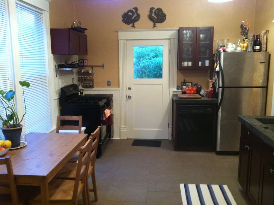 Kitchen with back entrance to yard