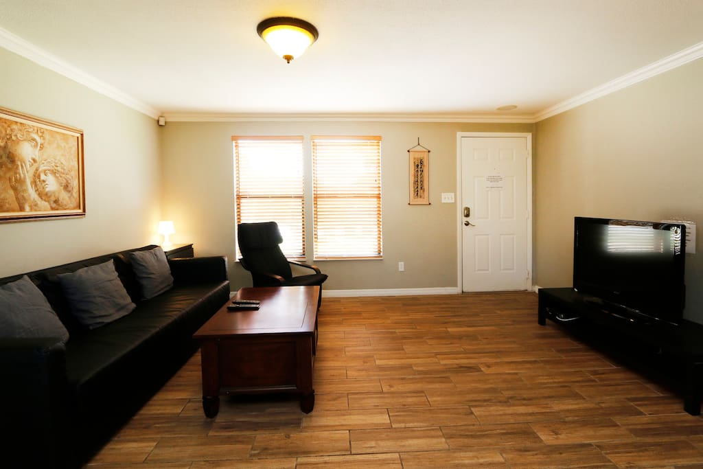 You can sit back in couch and recliners and enjoy large HD TV with over 400 cable TV channels and Chromecast to play videos of your smartphone. The couch can be converted into queen size firm bed.