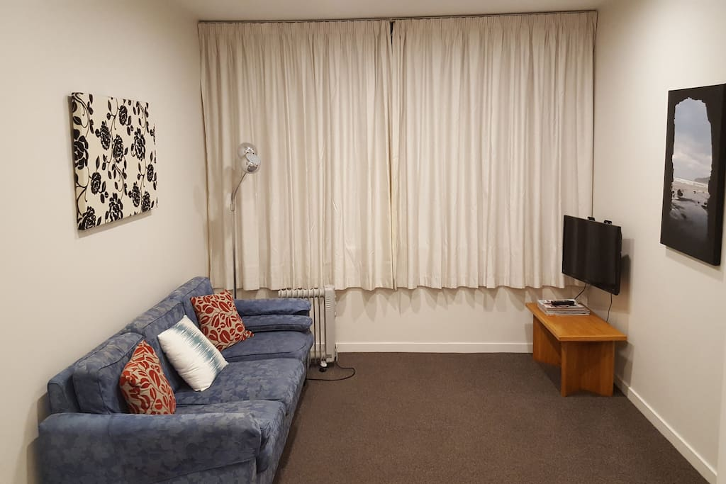There is ample space for two with a comfortable 3 seat sofa in the living area...