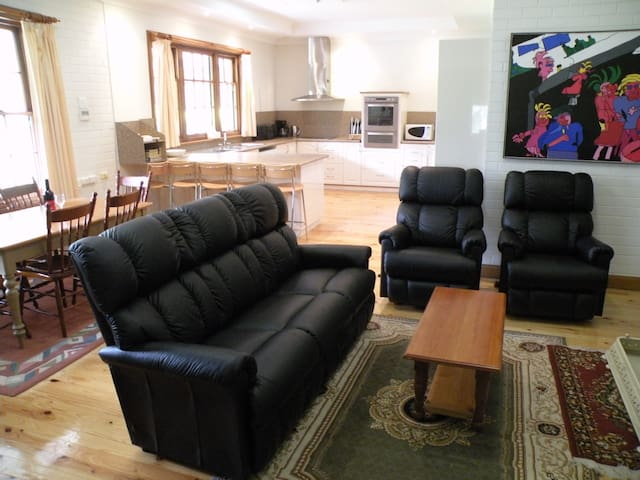 Family room with combustion heater and kitchen in the background.