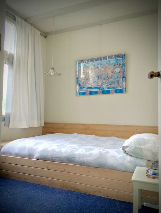 A cosy, peaceful, very relaxing room with a double bed (with added facility of under bead heating for an even comfier experience). Sheets are changed every third day, or more often upon request. Additional blankets and extra pillows at your service.