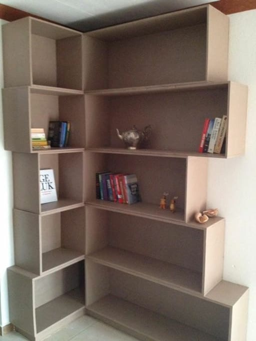 Our small library (more books are coming).