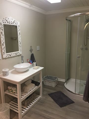 Bathroom with shower, basin and toilet