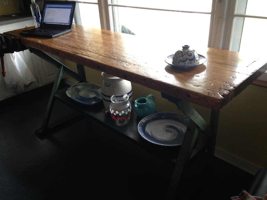 Repurposed kitchen work-bench table