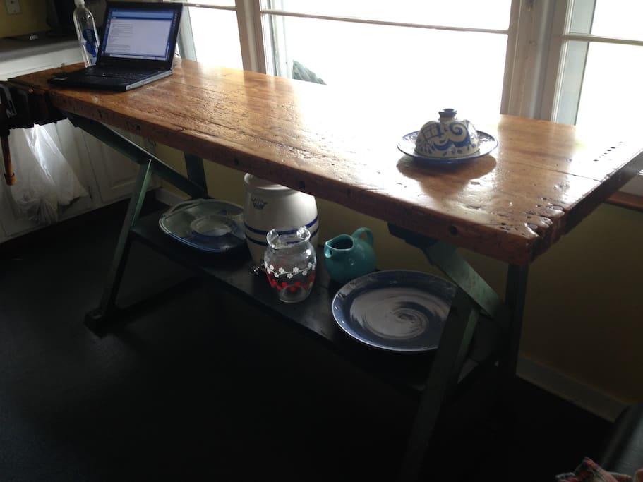 Repurposed kitchen work-bench table