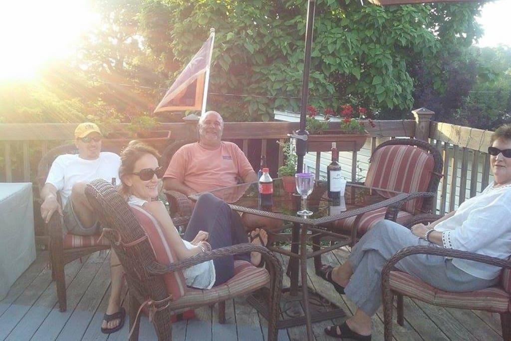 Folks enjoying the deck at the Inn