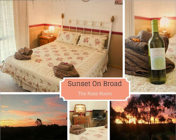"""Sunset on Broad"" The Rose Room  & Sitting Room"
