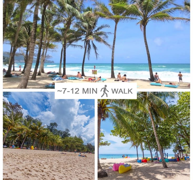 Sandy beaches with blue crystal water in 7-12 minutes walk.