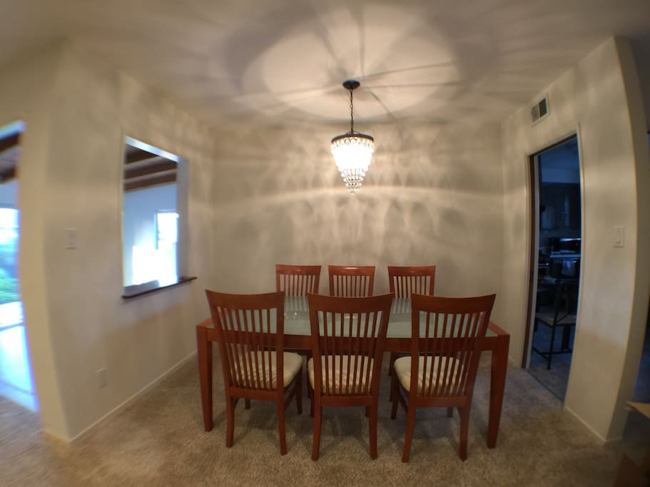 dining space. 6 to 8 people can sit.