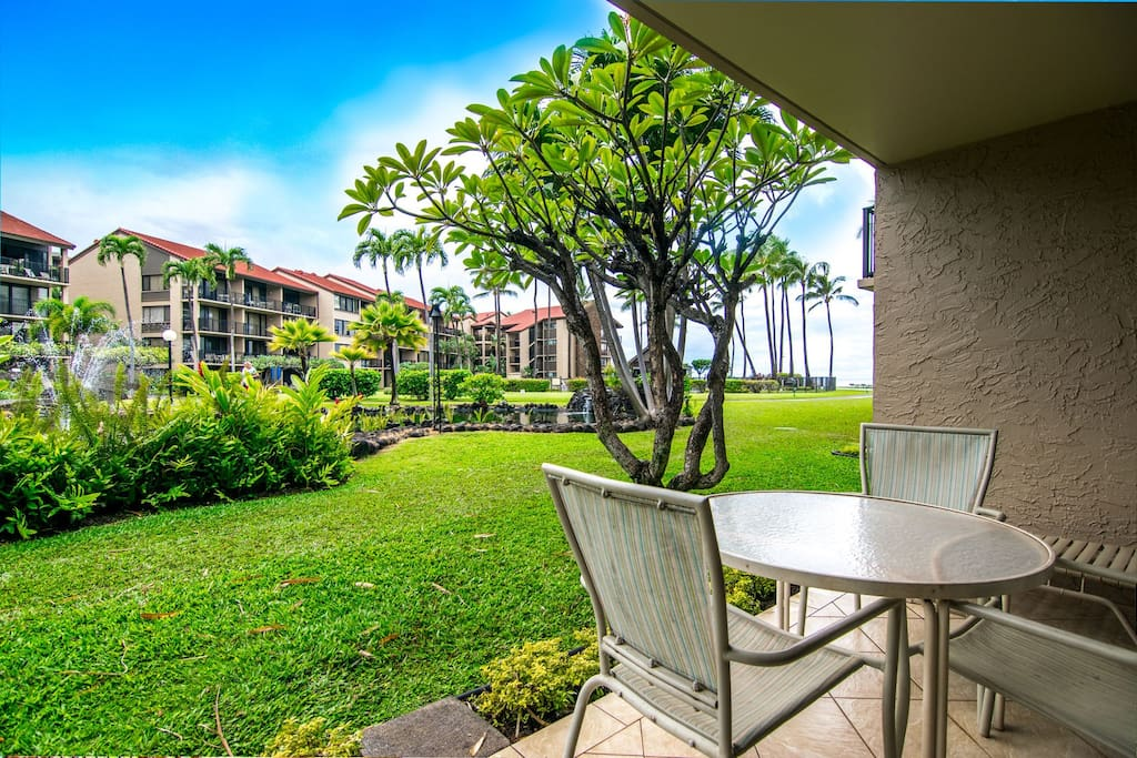 Lanai opens to a beautifully landscaped greenbelt.  Easy access to resort grounds.