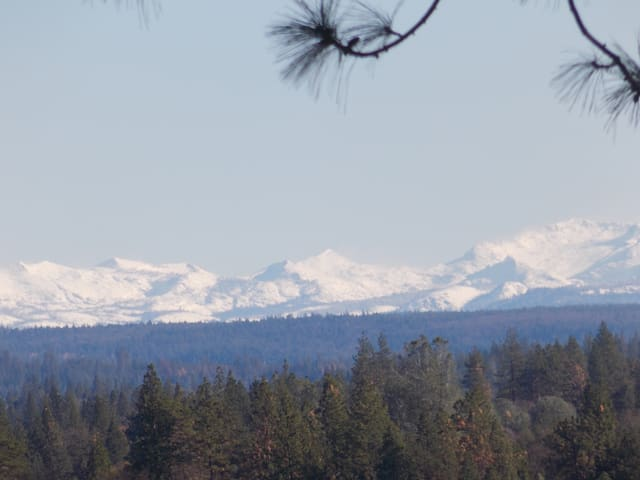 In the winter, you can view the snow-capped Sierras! We zoomed in on this photo, so the mountains look bigger & closer.
