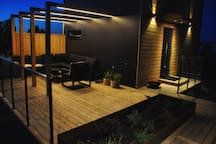 Outside lounge area during night.