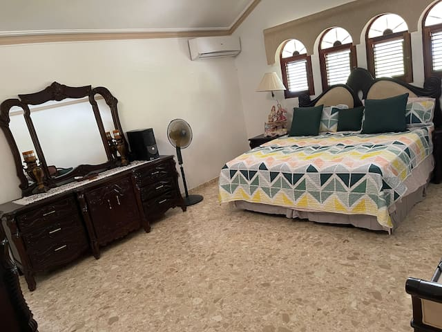 Master bedroom , king size bed , AC, smart tv with cable ,jacuzzi, standing shower cabin.