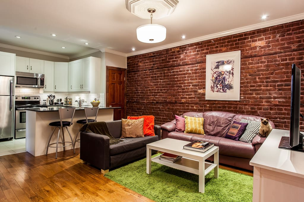 The shared living room and kitchen