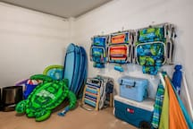 Pool toys and floats, beach chairs, coolers, and umbrellas make your beach getaway effortless