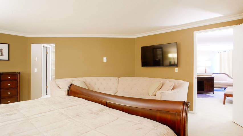 Smart TV with streaming service available in bedroom