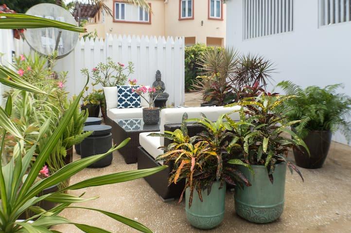 Shared garden lounge area
