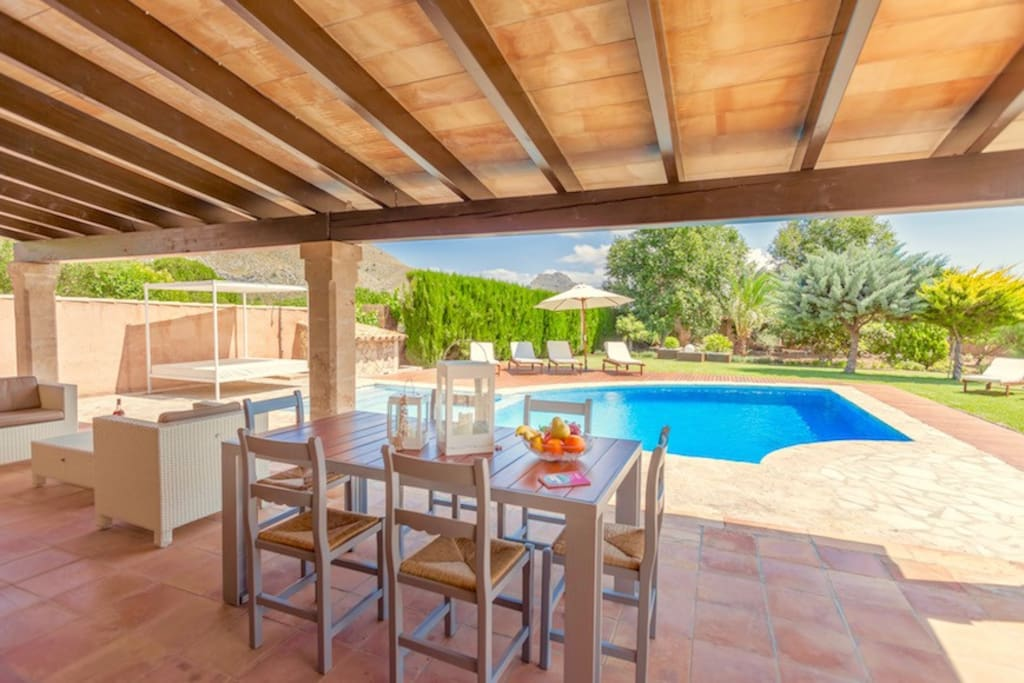 Shaded patio and private swimming pool