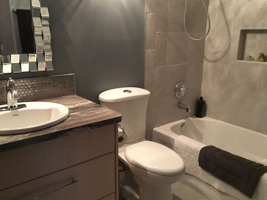 Full private bathroom with LOTS of hot water.
