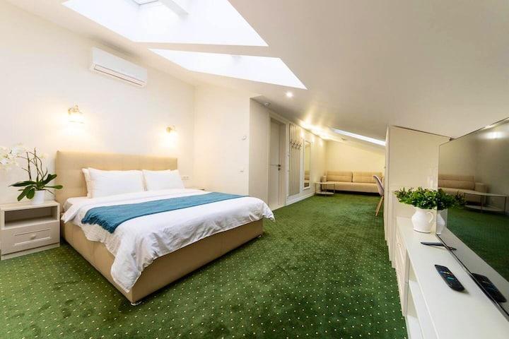 Kiev Story Hotel. Family room. Mansard.