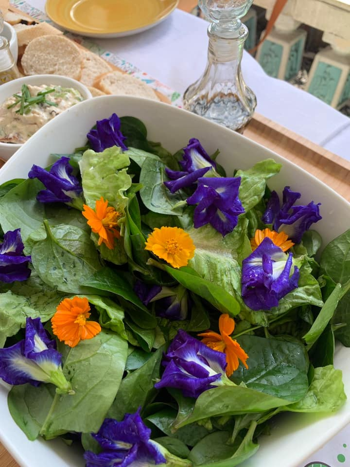 Fresh greens and flowers from the garden